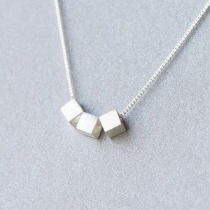 NEW 925 Sterling Silver Triple Cube Necklace